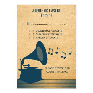 Cartão azul da resposta do gramofone do vintage convite personalizados
