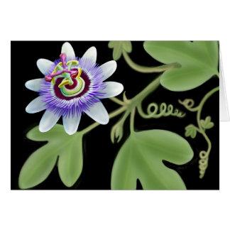 Cartão azul da videira da flor da paixão
