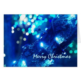 Cartão azul das luzes de Natal