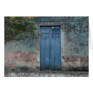 cartão azul das portas