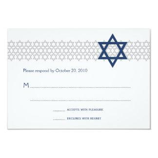 Cartão azul de brilho de Mitzvah RSVP do bar da