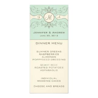 Cartão azul de creme do menu do casamento do convite 10.16 x 23.49cm