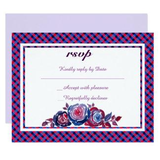 Cartão Azul de índigo & xadrez roxa vermelha RSVP floral