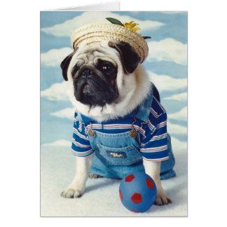 Cartão Azul de Little Boy do cão do Pug