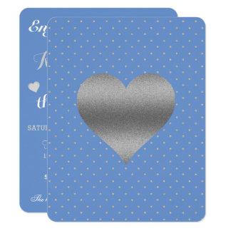 Cartão azul & de prata do Cornflower das bolinhas Convite 10.79 X 13.97cm
