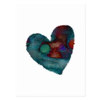 Cartão azul distorcido do coração