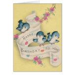 Cartão azul do aniversário da música do pássaro do