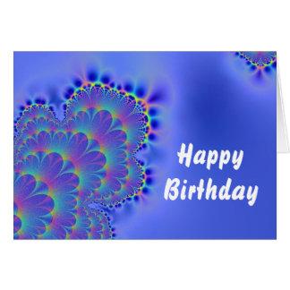 Cartão Azul do aniversário do Fractal