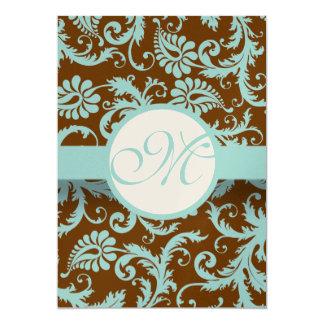 Cartão Azul do Aqua no menu do casamento tema damasco de