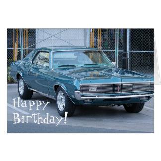 Cartão azul do automóvel do puma do feliz