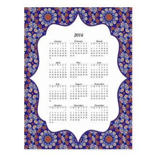 Cartão azul do calendário do teste padrão 2016 do
