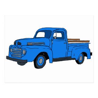 Cartão azul do caminhão do vintage