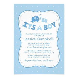 Cartão Azul do chá de fraldas   do elefante seu um menino