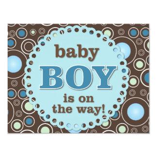 Cartão azul do chá do bebé das bolinhas convite 10.79 x 13.97cm