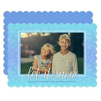 Cartão azul do convite de Ombre do floco de neve