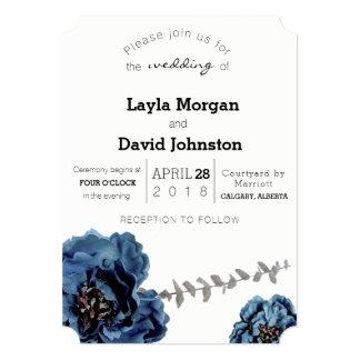Cartão azul do convite do casamento da flor de