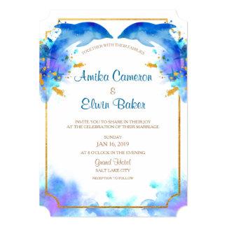 Cartão azul do convite do casamento do golfinho da
