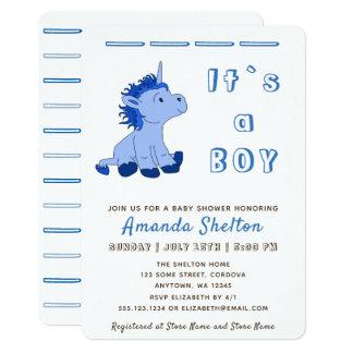 Cartão azul do convite do chá do bebé do unicórnio