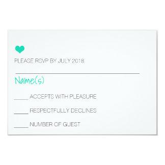 Cartão azul do coração RSVP