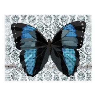 Cartão azul do damasco da borboleta de Boho Cartoes Postais