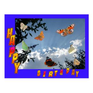 Cartão azul do feliz aniversario das borboletas