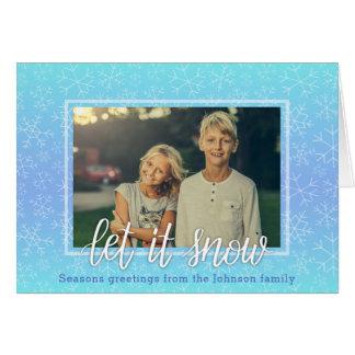 Cartão azul do feriado de Ombre do floco de neve