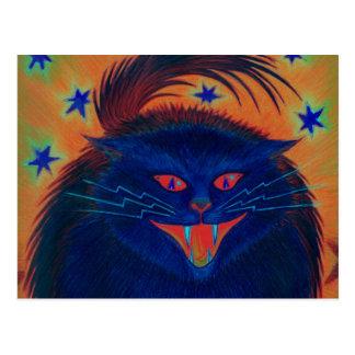 Cartão azul do gato assustador horizontal