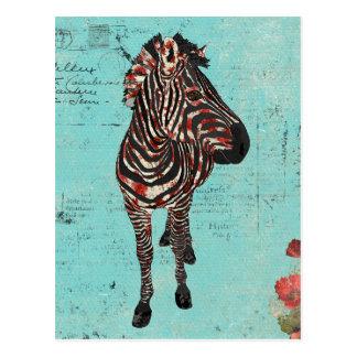 Cartão azul do Grunge da zebra cor-de-rosa Cartão Postal