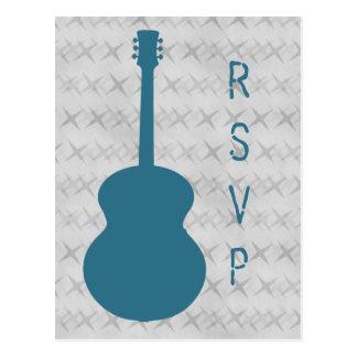 Cartão azul do Grunge RSVP da guitarra