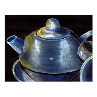 Cartão azul do grupo de chá (Lori Corbett)