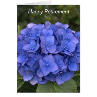 Cartão azul do Hydrangea da aposentadoria feliz -