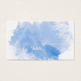 Cartão azul do lugar do recife de corais da
