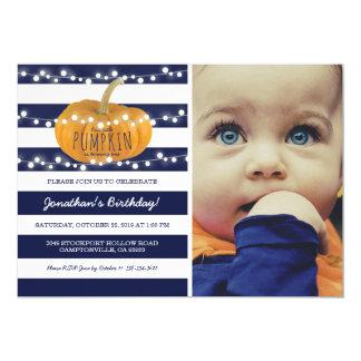 Cartão Azul do menino da queda do outono do aniversário |