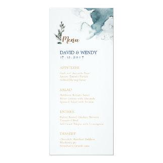 Cartão azul do menu do casamento do país das