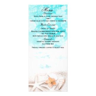 Cartão azul do menu do oceano da estrela do mar
