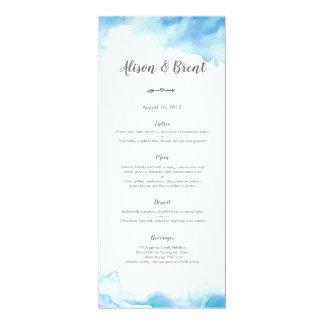 Cartão azul do menu ou de programa do casamento da
