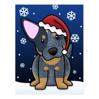 Cartão azul do Natal de Kawaii Heeler