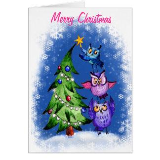 Cartão Azul do Natal do ` s da coruja