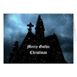 Cartão azul do Natal gótico alegre para seu texto