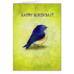 Cartão azul do passarinho (customizável)