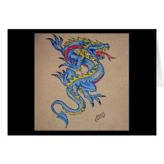 cartão azul do pergaminho do dragão (quadrado)