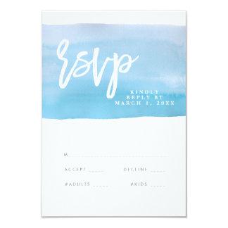 Cartão azul do rsvp do casamento da aguarela, convite 8.89 x 12.7cm