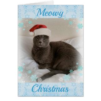 Cartão Azul do russo. Natal de Meowy