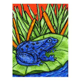 Cartão azul do sapo do veneno
