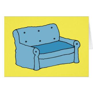 Cartão azul do vazio do sofá dos desenhos animados