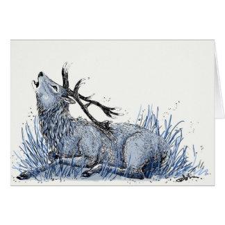 Cartão azul do veado