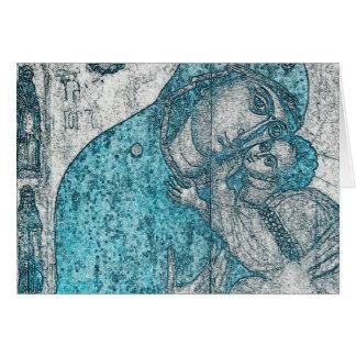 Cartão Azul do vintage do Jesus Cristo da Virgem Maria e