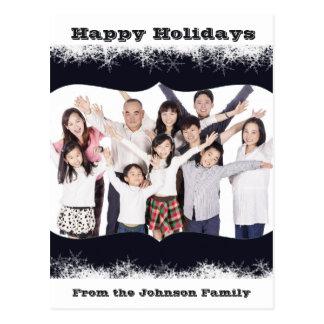 Cartão azul e branco da foto de família do feriado