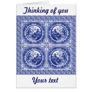 Cartão Azul e branco, design do teste padrão do salgueiro
