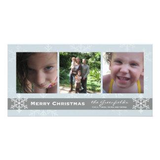 Cartão azul e cinzento do Feliz Natal do floco de  Cartão Com Foto